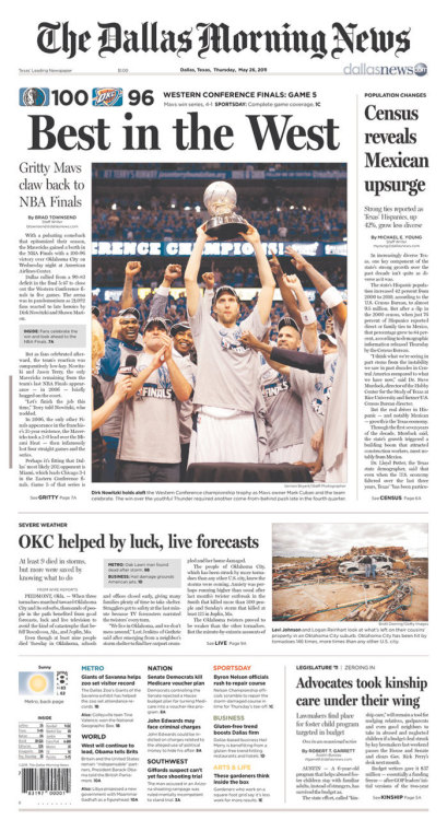fuckyeanba:  Dallas Morning News Front Page Here is the almost identical Dallas Star Telegram  OKC has more important things to worry about than their loss, as the front page of the Oklahoman shows   this is so sad…