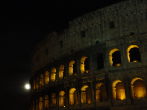 The supermoon and Colosseum.