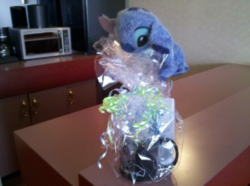 Stitch managed to get his hands on my gift from Lorne Akins Jr. High. I had to help him open it though.