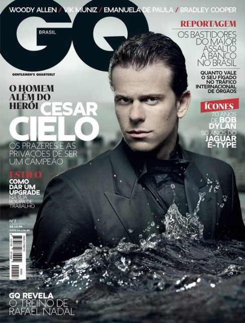 Cover for the third issue of GQ Brasil (May 2011). Cesar Cielo was photographed by Maurício Nahas at the swimming pool of Unique hotel, in São Paulo.  At my point of view, the best cover we´ve done so far. It was the coldest day of the year, but Cielo made ir thorough the hole afternoon inside the swimming pool, and still in good mood. Congrats to Nahas for capturing the exact moment the water splashed in Cielo´s chest (and thanks to Nahas' assistant for generating the waves!).