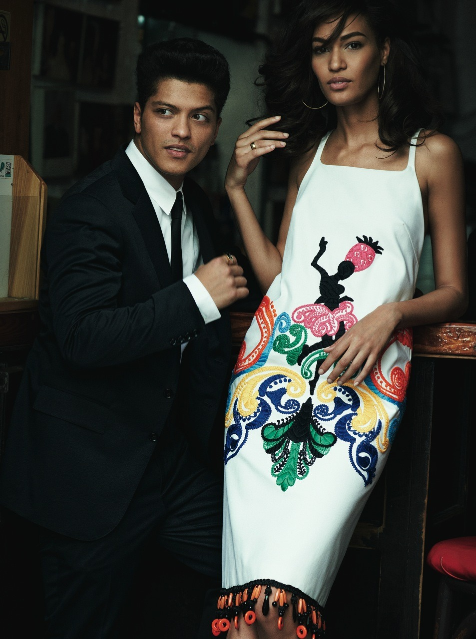Bruno Mars and Joan Smalls Photographed by Peter Lindbergh for the June Issue of Vogue