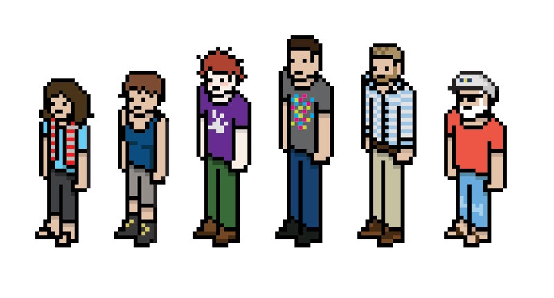 Me and my coworkers (pixelated)