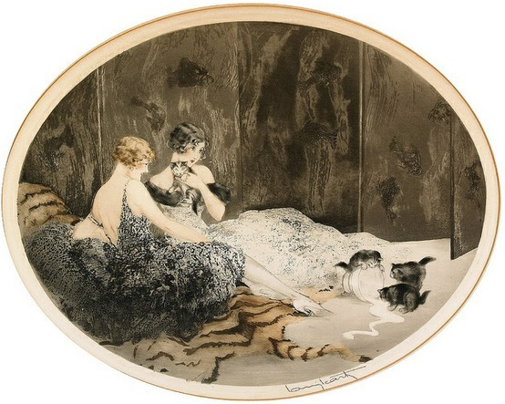 labellefilleart:  Spilled Milk, Louis Icart  like