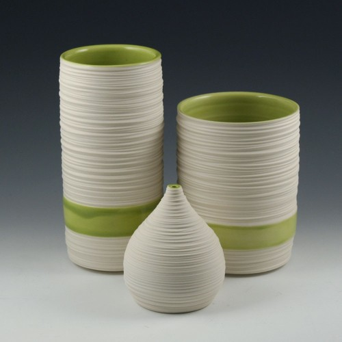 Kim Westad: Groove Vases with Olive Green Interior