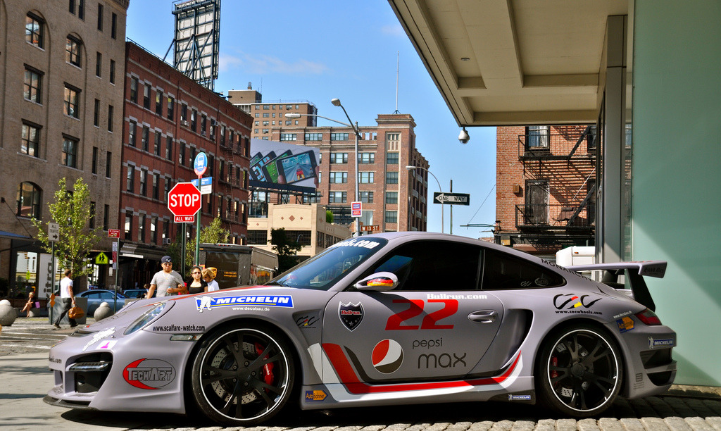 Meat Packing by CarSpotter TechArt Porsche 997 GT Street based off the GT2 Location: 2009 Bullrun Rally in New York City