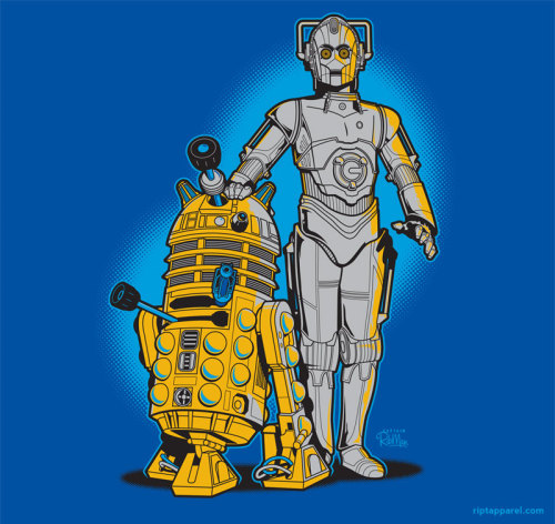 justinrampage:  The robotic characters from Star Wars and Doctor Who share roles in Captain RibMan's new shirt design. Available Tuesday (5/31) at RIPT! Related Rampages: El Boba | Tusken Pride (More) R2D WHO and CYB3R PO by John Sprengelmeyer / Captain RibMan Via: riptapparel  Sweet, sweet cross-over.