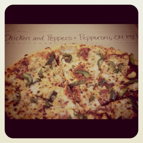Day 78: Handtossed Chicken, Pepperoni and Green Peppers! #pizza (Taken with instagram)