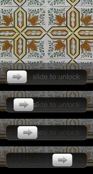 iOS - Moving the lock slider from left to right gradually fades out the 'slide to unlock' text. /via thisisrelevant
