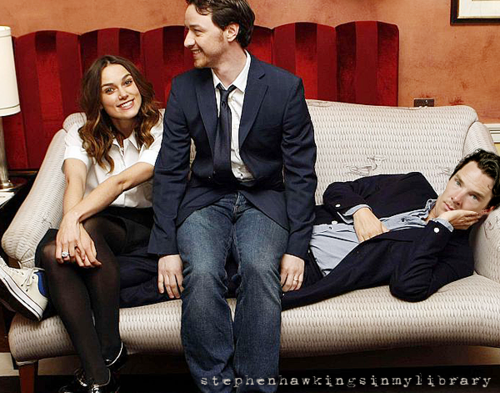 cumberbatchweb:  Keira, James McAvoy & Benedict. Does anyone have this bigger? I'm quite in love with it.   Kiera Knightley and James McAvoy sitting on top of Benedict Timothy Carlton Cumberbatch.  Today's a good day.