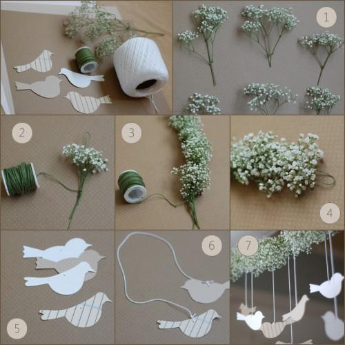 simpleweddings:  (via DIY Wedding Flower Garland | DIY | Once Wed) Click through for instructions!  This garland is so beautiful. I am not so stuck on the birds hanging off of it, but the garland itself would be so flexible and multi-use! And if I used Queen Anne's lace, which grows rampantly around here and on Rich's cottage's island, it would be free, I would just need the green thread. LOVE.