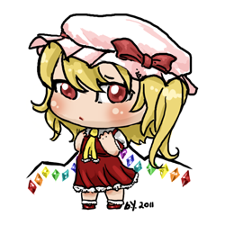 i drew flandre scarlet from touhou in chibi style.  going to Fanime tomorrow. i think i'm going to use this as my extra badge. x3
