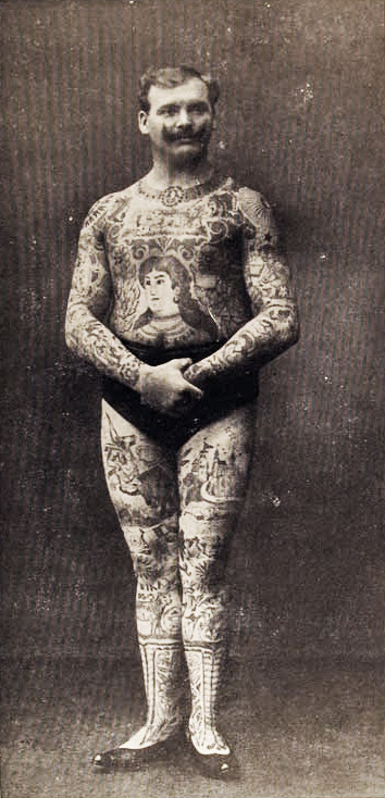 "The Tattooed Man, ""Don Manuelo"", German photo dated 1908"