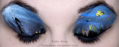 Katie Alves latest!!! katiealves:  Little Mermaid! Yay! I put a watermark on this baby because my lion king one got posted all over the place, but no one knew who did it! I saw this picture when searching for references and really wanted to recreate it! [link] I actually thought up this design before Lion King, but so many people requested Lion King, that I did it first! WELL the wait (that you didn't know you were waiting for) is over! Little Mermaid is here! On the other eye, I've got Flounder, Sebastian, some random fishies and sea horses! Plus seaweedy plants along the bottom!