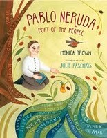 "realkidsgoodbooks:  Pablo Neruda: Poet for the People (2011) by Monica Brown, illustrated by Julie Paschikis.  A lovely introduction to a foundational poet. Pablo ""wrote about scissors and thimbles and chairs and rings. He wrote about buttons and feathers and shoes and hats. He wrote about velvet cloth the color of the sea…Pablo loved mothers and fathers, poets and artists, children and neighbors, and his many friends around the world. He opened his arms to them all."" The illustrations are filled with ribbons of words from his poetry, undulating, billowing across the page."
