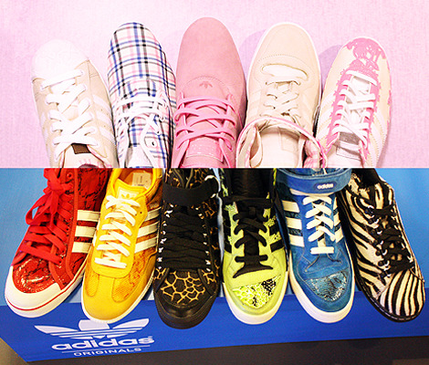 We love blue, pink and animal prints. These sneaks rock our socks.