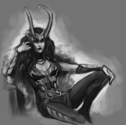 belphesien:  Messy quickpaint doodle thing of maybe pseudo-movie!verse Lady Loki possibly kinda. May or may not actually finish this.