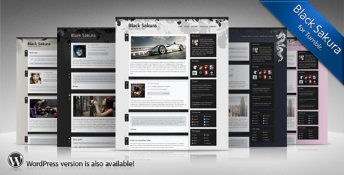 Sakura t. is Tumblr version of Black Sakura WordPress theme.  It is clean and trendy-looking theme with number of cool features: 2 customizable color schemes (day and night) pack of ready-made backgrounds to personalize look of your Tumblr blog Twitter widget Flickr widget filter-by-post-type widget social links widget Cufon fonts for headers and navigation smart jump pagination Show/hide options for sidebar widgets (search, description, people I follow, etc.) BUY THEME FOR $15          DEMO VERSION