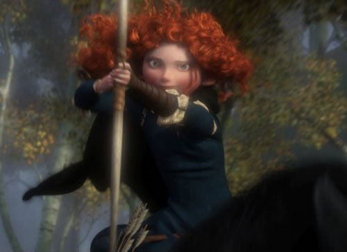 First image from Pixar's Brave This year may be all about Cars 2  over at Pixar, but John Lasseter and co clearly haven't forgotten that next year will belong to a flame-haired, arrow-wielding heroine.The animation studio has just released the first action pose-y shot from Brave, which is due to open June 2012.It shows off Princess Merida, a skilled archer who accidentally sets evil upon the Scottish highlands when she is granted a wish.Proving why it is celebrated as a market leader in CG animation, this first shot from Brave is as luscious and gorgeous to look at as anything Pixar has ever created.