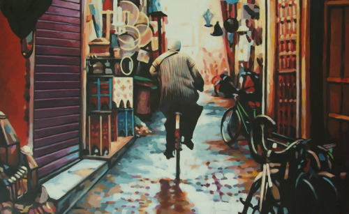Rain bike Marrakech Oil/canvas