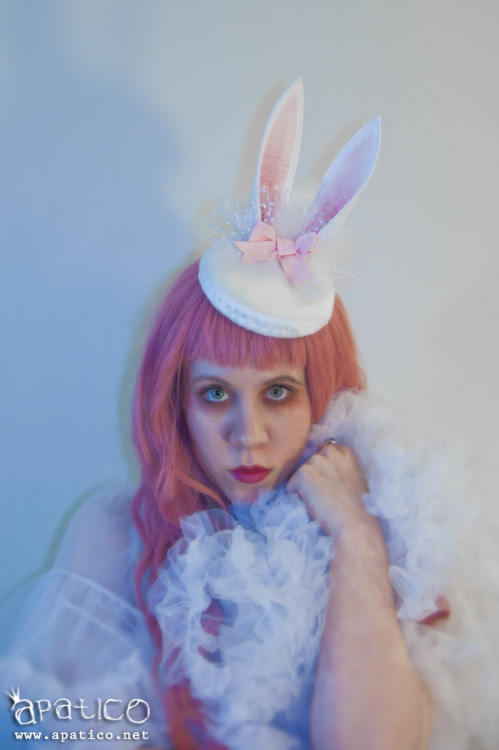 "http://www.apatico.net Bunny pillbox fascinator hat in silk!  … with flocked dotted tulle, pink grosgrain ribbon bow, marabou puff ""tail"", and ears <3"