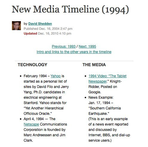 Cool. pewinternet:  New Media Timeline (1969-2010) We just stumbled across Poynter's fantastically useful timeline covering the history of new media and online journalism from 1969 to 2010. You weren't planning on getting any work done this morning, right?
