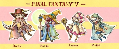 "[Picture: Bartz, Faris, Lenna, and Krile from FF5. They are each in a different job outfit and standing in a line, with a name under each one and above them it reads ""Final Fantasy V"".]"