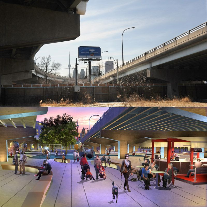 "Ground broken in Underpass Park despite criticism of the projectThe plot of land stretching east from St. Lawrence St. and south of King St. is not much to look at today, with highway ramps above and a sprawling construction site below. But Thursday morning it offered a hint of something more as politicians and planners gathered to break ground for Underpass Park, a key element in the Toronto waterfront revitalization project.The accompanying news conference also offered a chance for the most noteworthy of the dignitaries, Federal Finance Minister Jim Flaherty, to reaffirm his commitment to the project — despite criticism that has been voiced by two of his longtime family friends, Mayor Rob Ford and his brother Doug.""Toronto is the economic engine of the country, and it's important for Canada that Toronto's waterfront reflects the transition from its industrial past to the modern age,"" he said. ""The long-term commitment to the waterfront is there."""