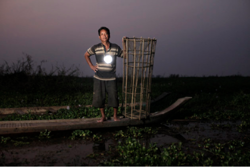 """Moonlight"" is a small solar-powered LED lantern that manages to be both functional and ethereal. So pretty! Click through to see the whole series of photos by Mathieu Young. See more photo essays here → Picture Show: Cambodian Fishing Villages, Lit by a Solar Night Light - GOOD"