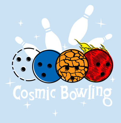 "threadless:  ""On a routine space expedition, four regular bowling balls were  accidentally bombarded with cosmic rays and gifted with fantastic powers  to battle the pinheads of crime. Now, whenever the lights go out and  the evil disco ball rears his ugly head, it's cosmic bowling time!"" says designer Ivan Guerrero (aka sirdiddymus).  We couldn't have said it better ourselves. Score Cosmic Bowling now! - Betsy"