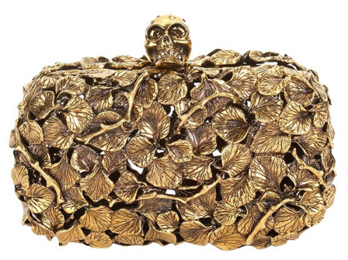 Alexander McQueen Gold leaf Metal Skull Box Clutch, $3295 via Alexander McQueen.  (Image via PurseBlog)