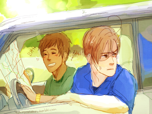 "yummytomatoes:  ""HAHA GUESS WHAT ROMANO, I've been looking at the wrong map this WHOLE time! ISN'T THAT FUNNY?""""It's ALMOST as funny as that black eye you have.""""What black— OGGHFD"""