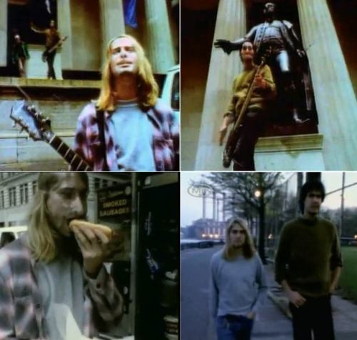 "Stills from the original video for ""In Bloom"" (the Sub Pop version), filmed in downtown New York City."