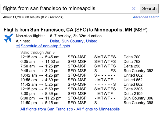 laughingsquid:  Google Starts Adding Flight Schedules And Airline Routes In Search