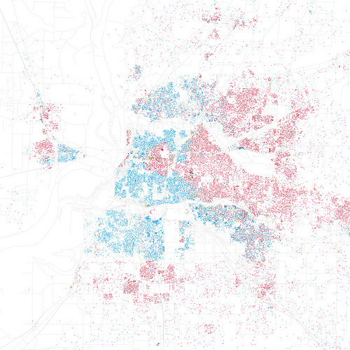 Race and ethnicity: Memphis (by Eric Fischer)  One dot = 25 people. Red= white people, Blue= black people (you can't see many of them, but orange= Hispanic people and green = Asian people).  See what your city looks like: Race and ethnicity
