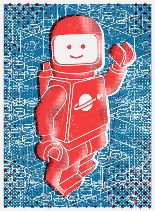 "illustrativo:  ""Hello Spaceboy"" is an 18″ x 24″, 2 color screen print, edition of 50, and costs $50"