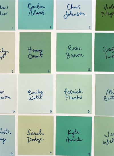 carlynnvictoria:  Super DIY Paint Chip Escort Cards | DIY Wedding Blog | Once Wed  So this one's about as DIY and budget friendly as it gets. Just go to your local hardware or paint store, pick out a bunch of paint chips within the range of your color palette (free), cut them up, and write everyone's names on them. Done. :)  What a good idea! So cute, adorable, creative, and colorful. And all for the cost of a marker since that's pretty much all you're buying to get this done!