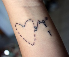 Sewn On Heart Tattoo