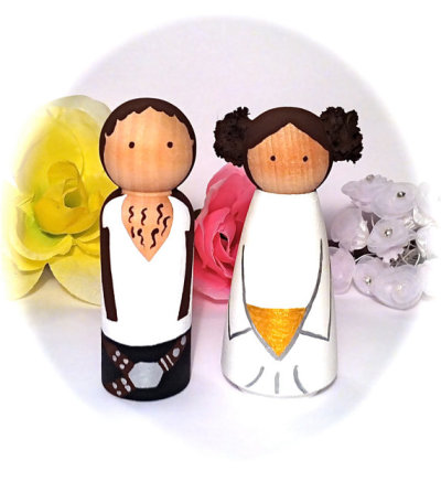 """Hans Solo & Princees Leia"" Star Wars Cake Toppers by CreativeButterflyXOX"