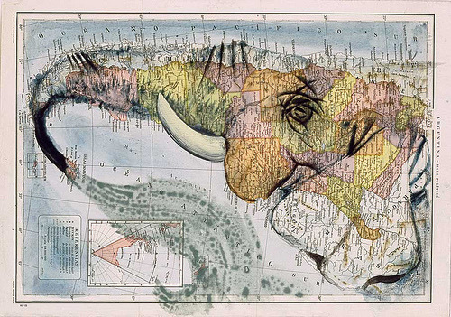A sideways map of Argentina re-imagined as the head of an elephant, by Spanish artist Fernando Vicente.