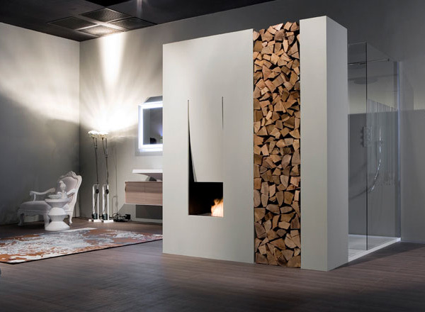 Fireplace in a bathroom.