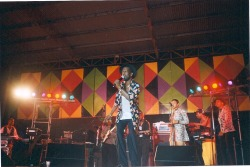A pic of Gregory Isaacs live @ mx3 west end Negril, JA circa '98, from the vault.  This is a vintage pic, taken by my long time amigo Kev, when he & I were in JA.  The legendary Cool Ruler, Gregory Isaacs was a prolific recording artist and has many unmistakable hits with his unique roots reggae vocal style, at times lovers rock, like Night Nurse, and other times dancehall, like Rumors (click the photo to link to this song on youtube).  Gregory passed away last year, and was also known for being in and out of trouble, but his legendary tunes live on…