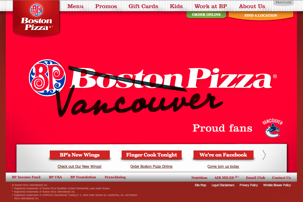 sportads:  crazy. geo-targeting… boston pizza changes its name for the playoffs. @vancanucks #bringithome  Reminds me of when Brady's, a bar on Manhattan's Upper East Side, changed its name to Manning's for Super Bowl XLII between the New England Patriots and New York Giants.
