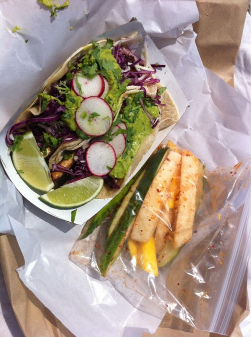 Tofu Taco and Cuke salad (mango, cucumbers, jimica) from Rockaway Taco! Fast food can be easily made healthy and vegan!