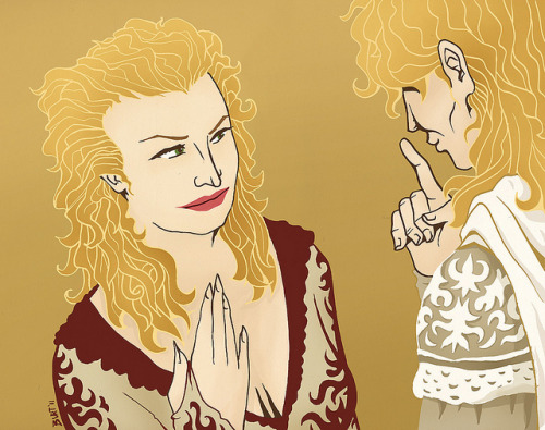 Here's a slightly unsettling illustration of Cersei & Jaime Lannister. Well, I guess any illustration of the both of them would have at least a LITTLE unsettling. I inked this illustration before HBO's Game of Thrones series came out, so this was based off of my memory of the novels.