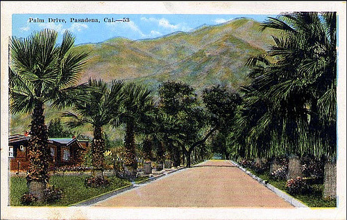 Postcard: Palm Drive. Pasadena, California.1933 (by fantomaster)