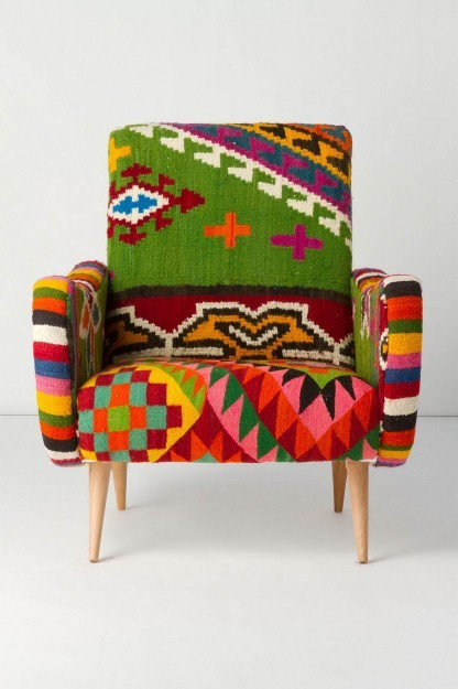 This armchair is busier than what I usually like. But I love all those bright colors together. (via bjoern)
