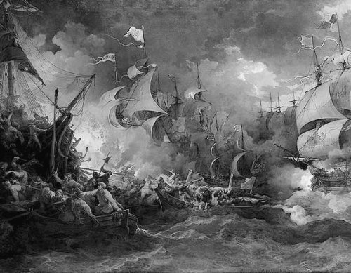 The Naval Battle of Graveline (1588) The battle at which the English Fleet  					dispersed the Spanish Armada and forced it into the North  					Sea.