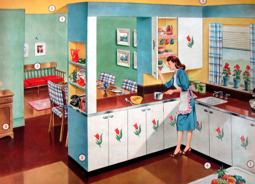 Handy Hint #2 - Mid-Century housewives: Forever forgetting the names of furniture pieces? Label them with numbered disks and keep a corresponding list taped handily inside a kitchen cupboard.