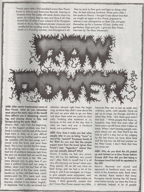 MRR #303 August 2008 - Raw Power interview (page 1)