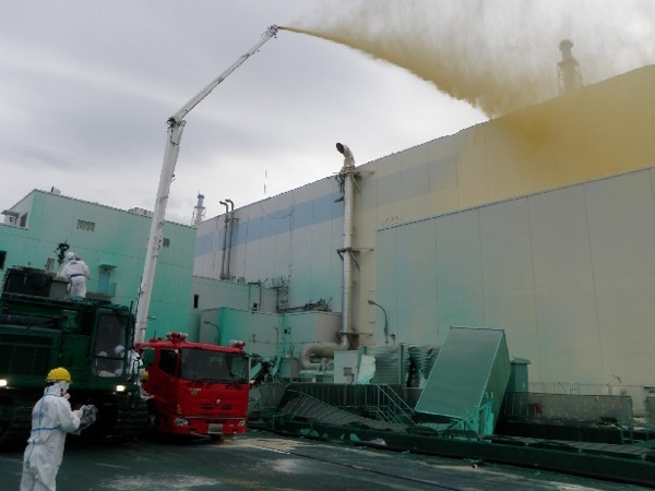 Bag's Take-Away:  Lastest byzantine move from TEPCO. Spraying dust inhibitor around Fukushima. Good grief. Reminds me of  this.  »See more takes on Japan earthquake photos at Bag and Bag Tumblr.«  (photo: TEPCO caption: May 27, 2011) ————— Follow us: BagNewsNotes. BAG Twitter. BAG Facebook.